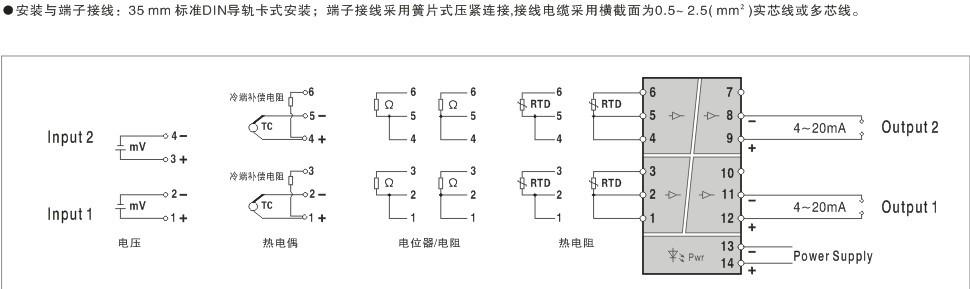 见端子接线图) ◆ 毫伏电压:-10~ 100mv 范围 最小量程:10mv 输入