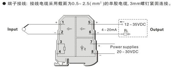 MZ6911 热电偶温度变送器 输出外供电 一入一出特性 单通道,一入一出。 K、E、S、B 热电偶输入 输出电流信号 4~20mA。 内置冷端补偿。 直流电源供电方式,并且支持输出回路供电。 输入-输出-电源之间隔离。 小体积, 超薄, 壳体厚度仅为6.2 mm。 端子化设计, 全蔽结构, 无需防尘。 螺丝拧紧连接, 接线简单。 概述 用于 K、E、S、B 等型热电偶输入,经隔离变送输出标准的直流电流信号4~20mA。 采用独立的直流电源供电, 并且支持输出回路供电。 该隔离器体积小, 超薄, 机壳厚度